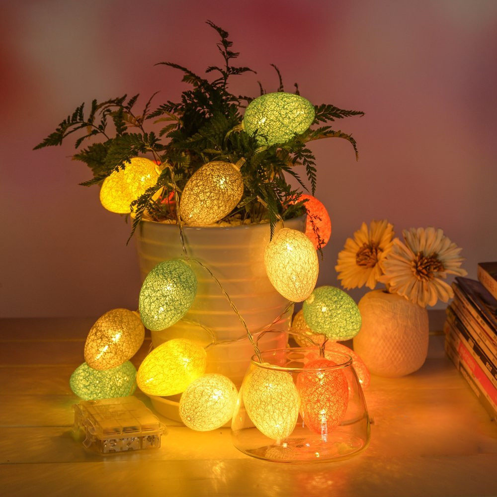 Easter eggs fairy string lights lamp 18m 10 led cotton light eggs easter eggs fairy string lights lamp 18m 10 led cotton light eggs balls party outdoor wedding decoration supplies ornament in party diy decorations from aloadofball Images