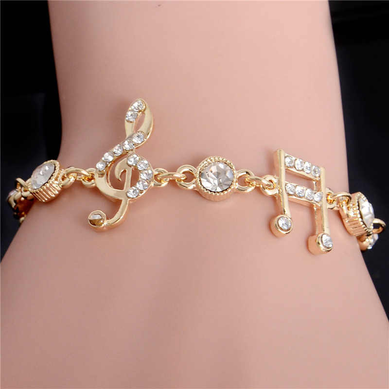 MISANANRYNE Luxury Jewelry Gifts Gold Color Musical Notes Bracelet Crystal Zircon Charm Bracelet For Women Jewelry