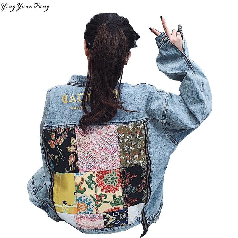 YingYuanFang Fashion new retro double zipper loose tide brand couple denim jacket