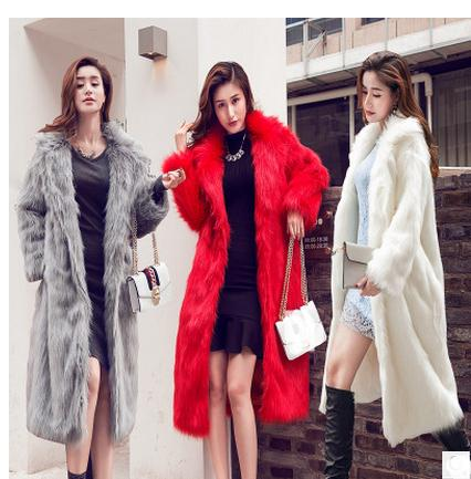 S 6XL Women Long Section Fur Jacket Fake Fur Coat Casual Large Size Female Winter Autumn Man Made Fur Jackets Female Outwear C40 in Faux Fur from Women 39 s Clothing