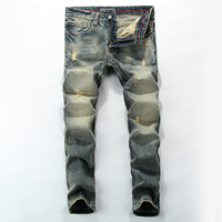 No.1 5 Klasik Orta Şerit erkek Kot Ripped Slim Fit Denim pantolon Erkek Yüksek Kaliteli Marka Giyim Moto Biker Jeans Erkekler RL621
