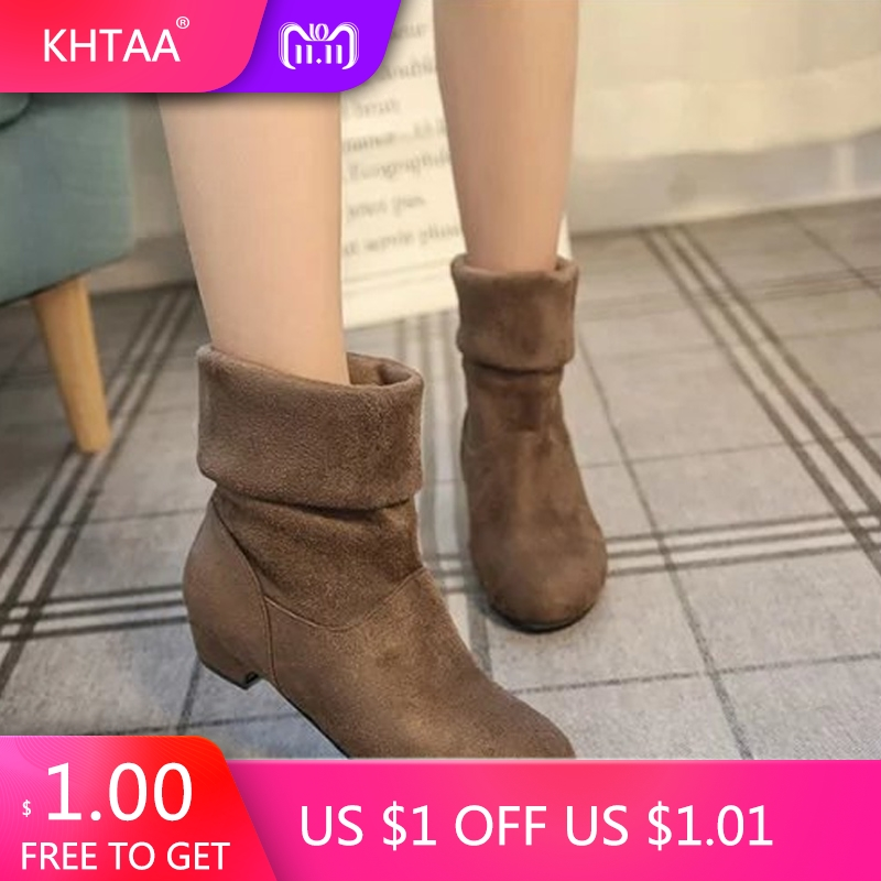 Women Winter Ankle Boots Plus Size Low Heels Slip On 2018 New Autumn Fashion Two Ways Wear Short Boots Ladies Party Female Shoes bjd doll boots two wear rabbit ears cut short boots in stock page sd13