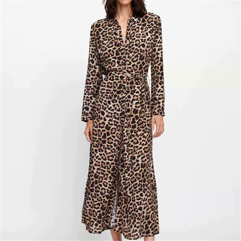 Women Dress Autumn 2019 Ladies Leopard Print Dresses Sexy Women V Neck Long Sleeve Midi Dress Womens Dresses Fall Evening Party 5
