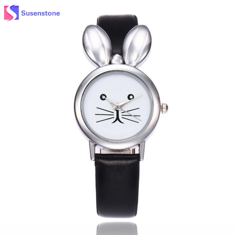 Fashion Cute Rabbit Women Watch Leather Band Analog Quartz Wrist Watch Female Ladies Casual Small Sport Watches reloj mujer 2017 sanwood brand ladies watches fashion white leather band analog quartz rhombic case wrist watch for women gift reloj mujer