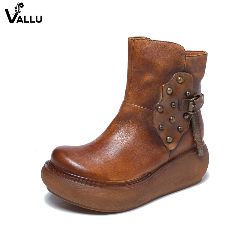 2018 VALLU Genuine Leather Women Boots Flat Platform Round Toes Buckle Rivet Handamde Vintage Lady Ankle Boots 2018 vallu new leather shoes women ankle boots round toes buckle zipper handamde vintage flat platform ladies boots