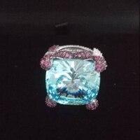 Новинка 2017 года QI xuan_fashion jewelry_big синий камень роскошный коктейль Rings_S925 одноцветное Серебряный палец Rings_Factory непосредственно продаж