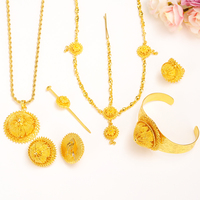 Bangrui Big Size Jewelry Sets For Ethiopian Gold Color Women Jewelry Hair Chain Hair Stick Pendant