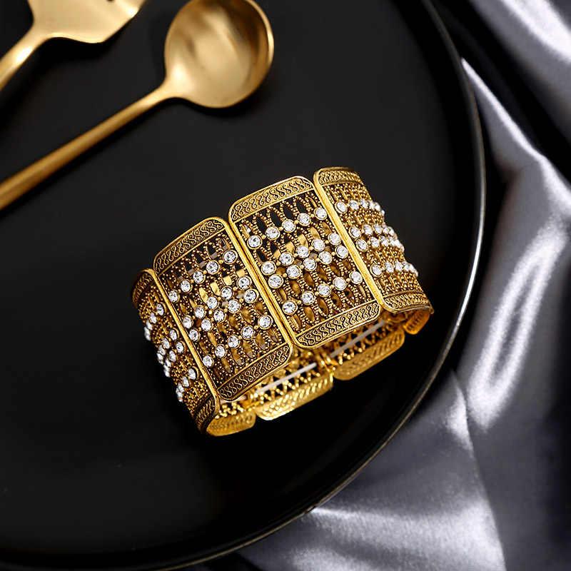 Crazy Feng marque Boho couleur or bijoux de mode Bracelet extensible et Bracelet pour les femmes large cristal Pulseiras livraison directe