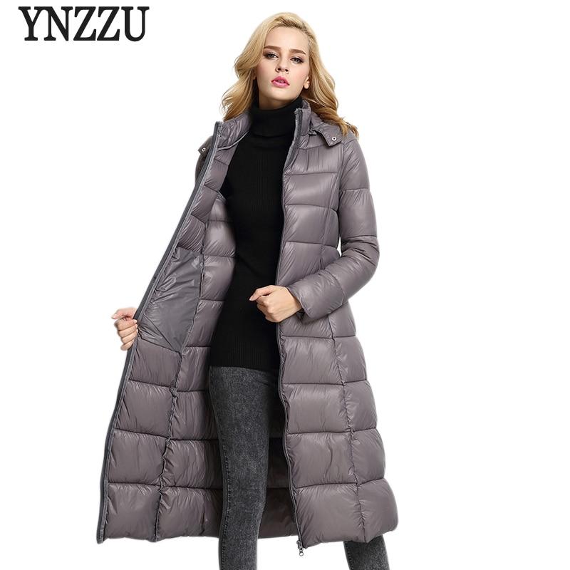 YNZZU 2017 New Autumn Parka Jacket Women Winter Coat Solid Long Cotton Padded Warm Hooded Jacket Outwears High Quality YO278 new 2017 winter autumn cotton long coats jacket women hooded padded parka