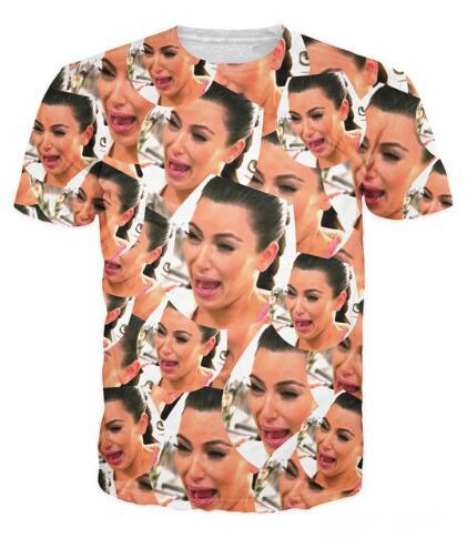 Fashion New Unisex 3D Summer Arrive Style T-Shirt Crying KIm Sexy Kim Kardashian T Shirt Ugly Cryer Kim K Vibrant Tee