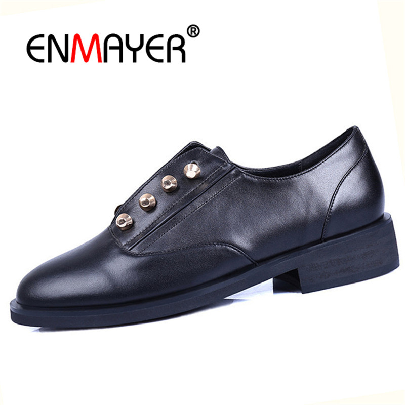 ENMAYER Women pumps Size 34-39 Casual Leather shoes Woman Low heels Round toe Shoes Metal Punk Thick heel Fashion Lace up CR1012 big size 11 12 elegant round toe lace up casual square heel women s shoes high heels pumps woman for women