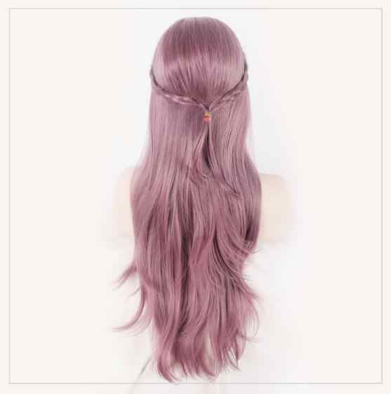 "Gorro de pelo gratis + 80 cm/31 ""Peluca de cosplay de hadas Con cómic Peluca de elfo largo púrpura para mujer peluca Lolita Club puple Peluca de pelo largo ondulado"