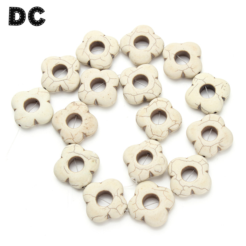 DC Approx 16pcs White Hollow Flower Bead Stone Spacer Beads 25mm fit Women Men DIY Jewelry Making Findings Components