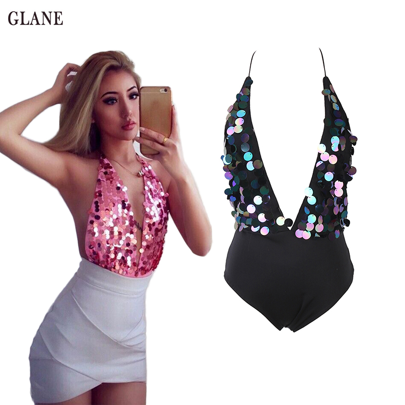 2017 Hot Sexy Shinny Sequins Biknis Women V-neck One-Piece Swimsuit Beachwear Swimwear push up monokini bikini