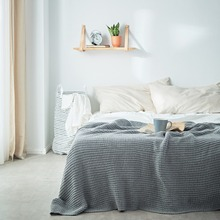 soft blanket for bed sofa aircondition solid throw blankets adult summer knit Bedspread 50% cotton acrylic