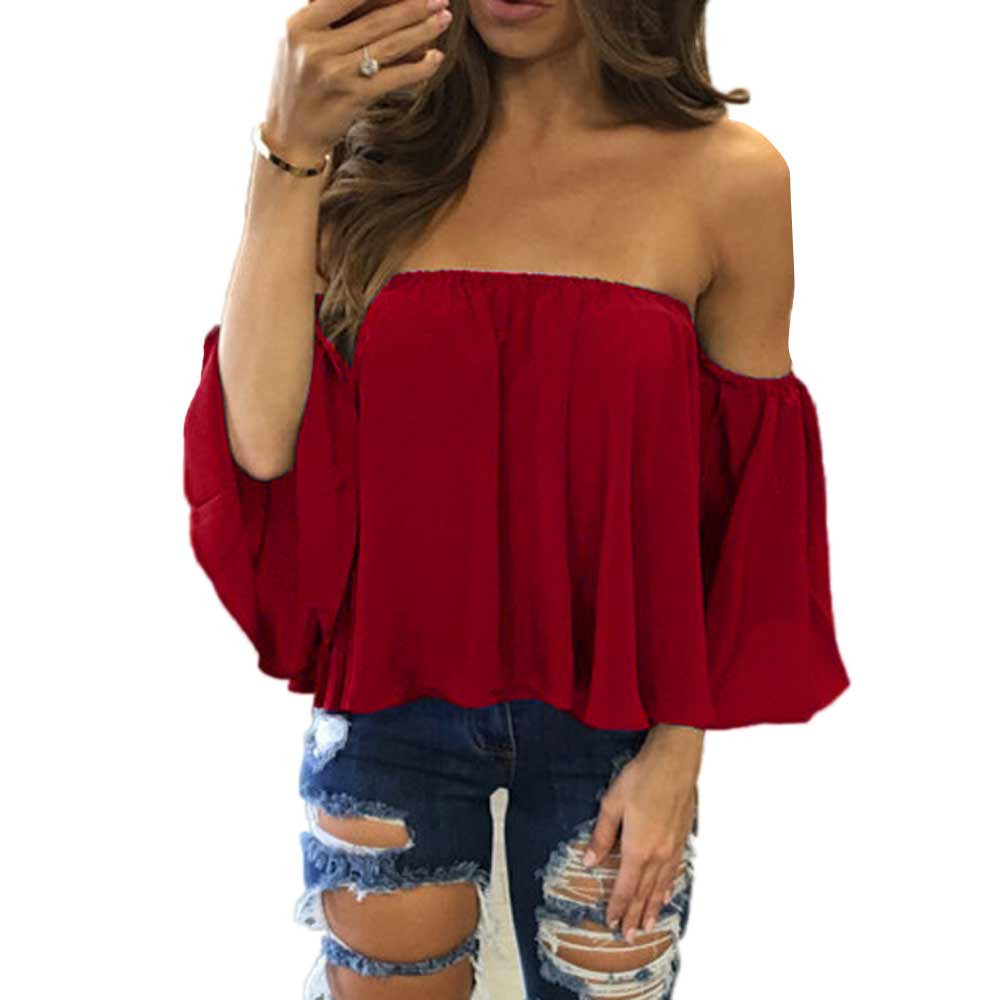 Free Ostrich Women Sexy   Blouses   Slash Neck Off Shoulder Chiffon Long Sleeve Loose Casual Tops   Shirts   Party Pullover Blusas C2735