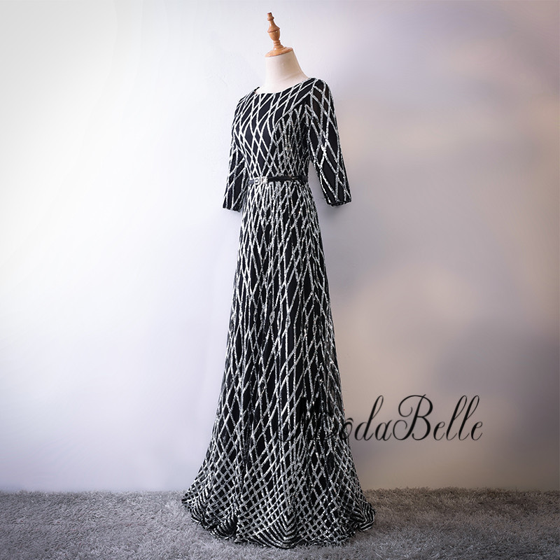 f7c44d9348538 modabelle Elegant Black Silver Sequin Prom Dress 2018 Trendy New ...