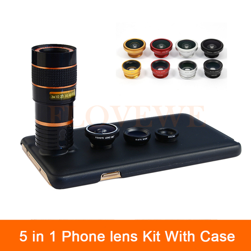 imágenes para Lentes de la cámara 5in1 para samsung s3 s4 s5 s6 s7 edge plus Cajas del teléfono Telescopio Del Zumbido 8X Lente de ojo de Pez Gran Angular Lente Macro + Clips