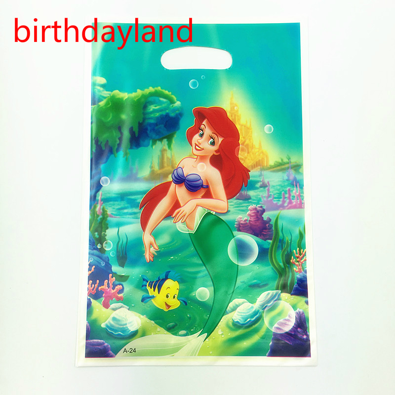 48pcs Love Mermaid theme PE printed plastic candy bags,shopping gift bag for birthday party supplies 8bags