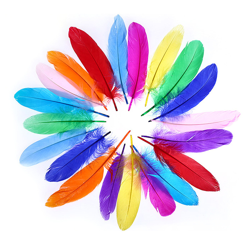 20 Pieces Kindergarten Handmade Colorful Feathers DIY Decorations Children's Creative Art Courses Making Materials BS59
