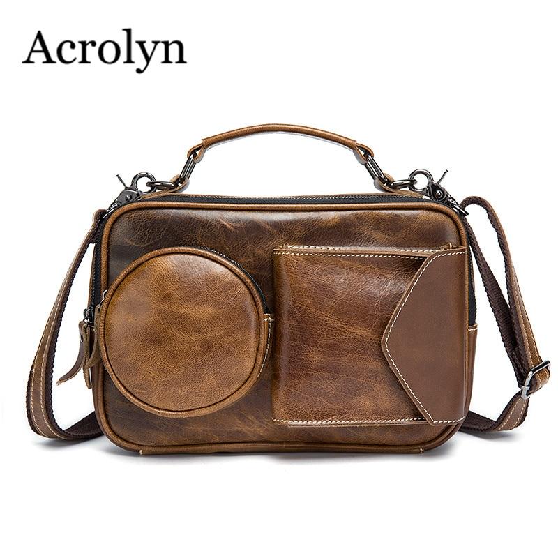 ФОТО Genuine Leather Men's Bags Cowhide Casual Handbag Radio Shape Multi Pocket Messenger Bags