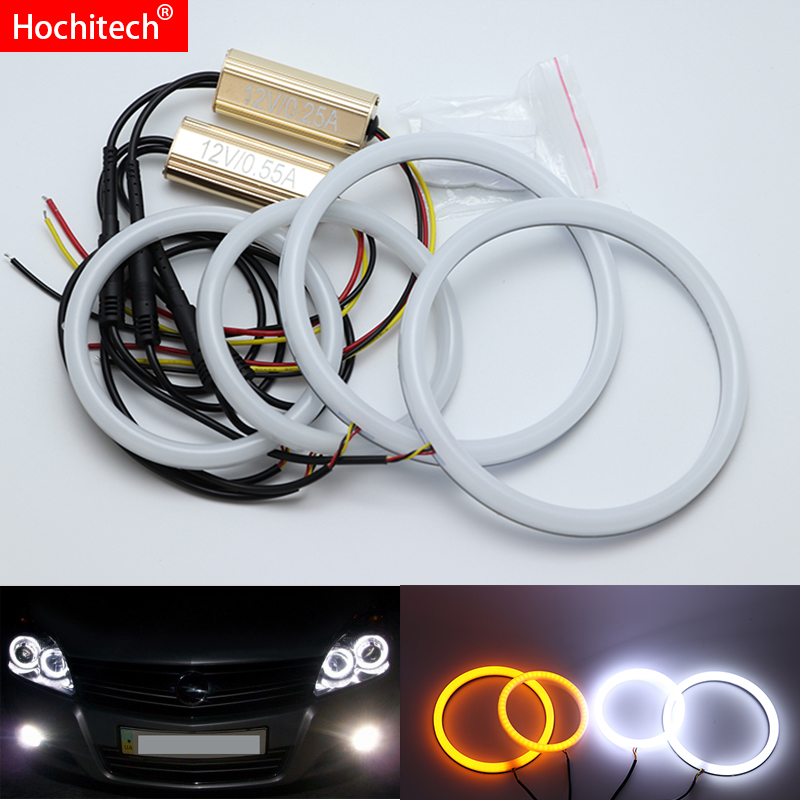for Opel Astra H NON projector 2007-2010 White & Amber Dual color Cotton LED Angel eyes kit halo ring DRL Turn signal light стоимость