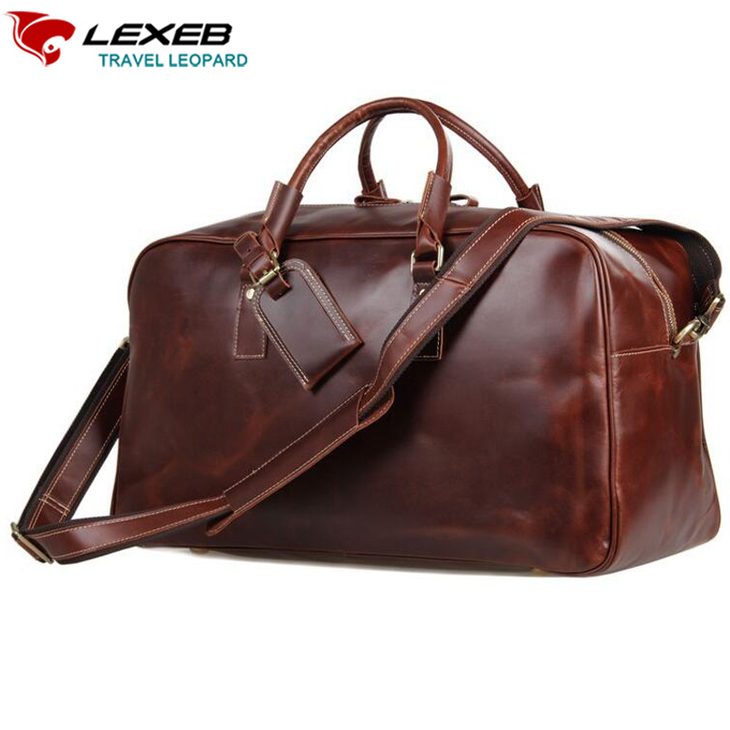 LEXEB Garment Duffle Vecchio Brown Italian Leather Overnight Weekender Travel Bag Carry On Luggage Large Top Quality