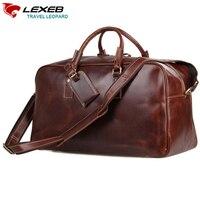 Lexeb одежда спортивная Веккио коричневый из итальянской кожи ночь дорожная сумка для переноски на Чемодан большой Одежда высшего качества