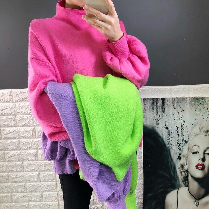 2019 Top offre spéciale coton pull femmes hiver femme pull couleur bonbon manches chauve-souris lâche col haut pull en tricot col roulé