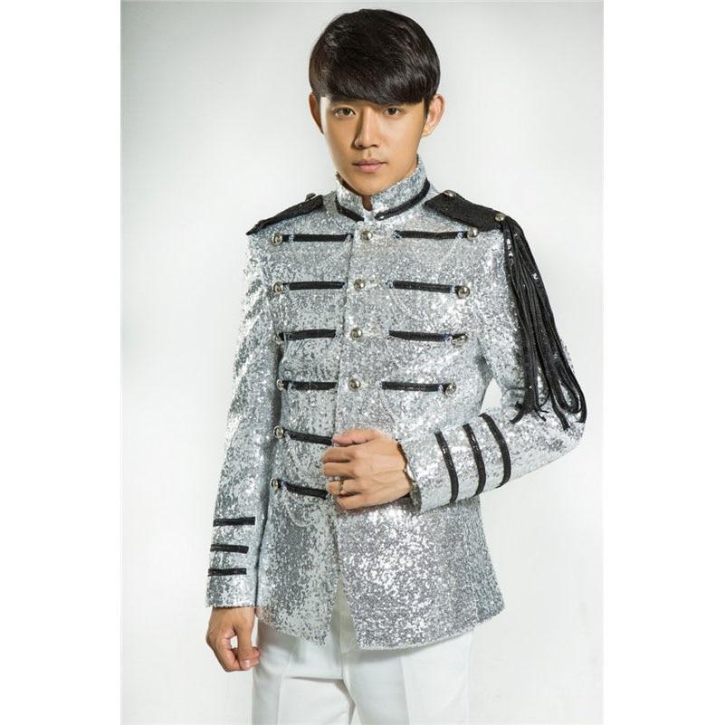 Vyriški blizgantys sidabro sidabriniai kostiumai Kostiumai Homme - Vyriški drabužiai - Nuotrauka 1