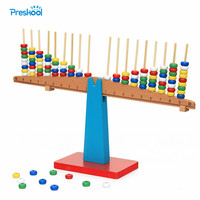 Montessori Baby Kids Toy Teaching Aids Wood Balance Beam Vertical Rods Stacking Scales Preschool Brinquedos Juguetes