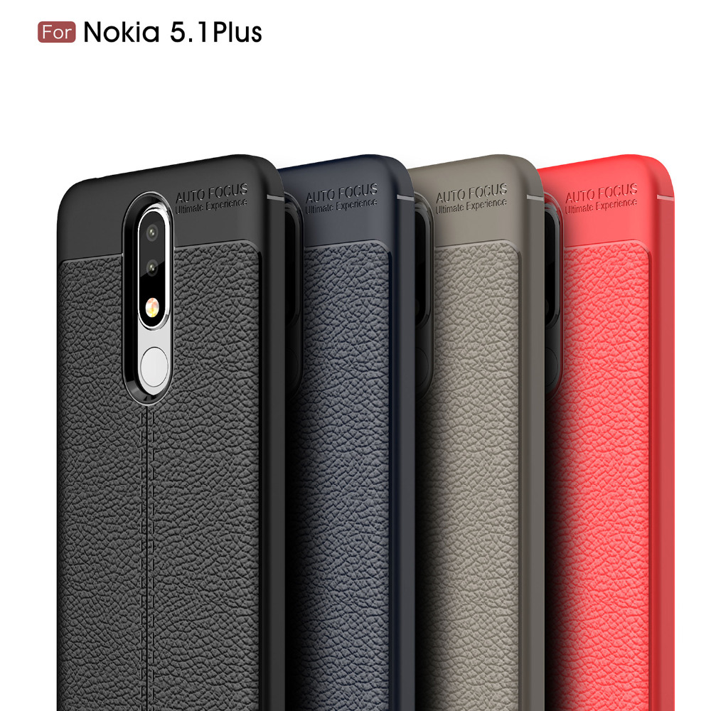 Carbon Fiber PU Leather Skin Case For Nokia 5.1 Plus / Nokia 5.1 Plus X5 Case Soft Cover For Nokia 5.1 Plus Coque Fundas Etui