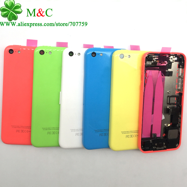 1PCS 5C Back Battery Cover Housing With Flex Cable For iPhone 5C Metal Full Housing Assembly With Tracking