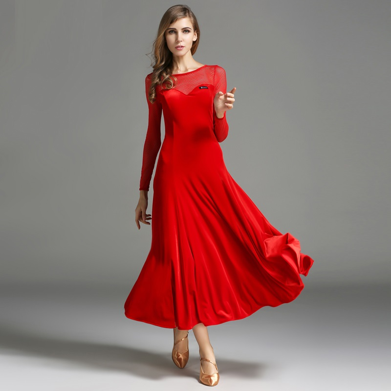 black velvet long sleeves ballroom dance dresses red flamenco dress woman waltz dress transparent splicing luminous costumes