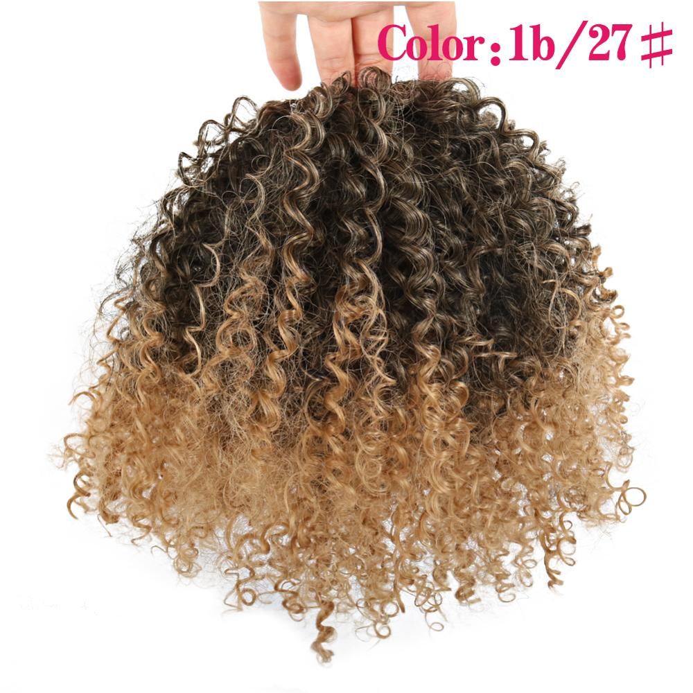 Deyngs Draw string Puff Afro Kinky Curly ponytail African American Short Wrap Synthetic clip in ponytail Hair Extensions 8inch 4