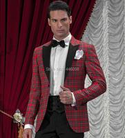2018 New Arrival One Button Classic Plaid Groom Tuxedos Groomsmen Men's Wedding Prom Suits Bridegroom (Jacket+Pants+Girdle+Tie)