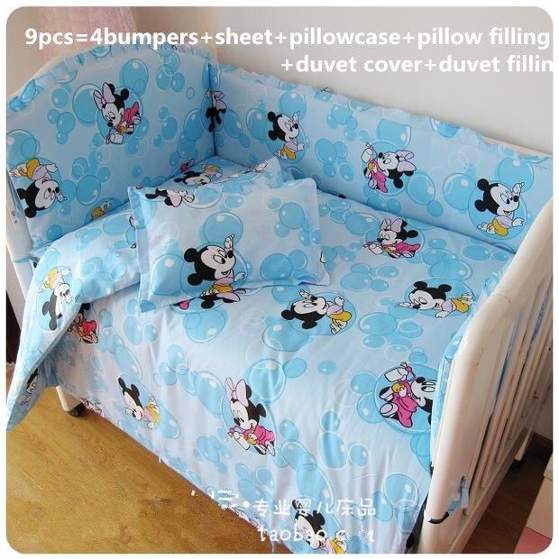 где купить Promotion! 9pcs Full Set baby bedding bumper set newborn bedding cot nursery cot bedding kit,4bumper/sheet/pillow/duvet дешево