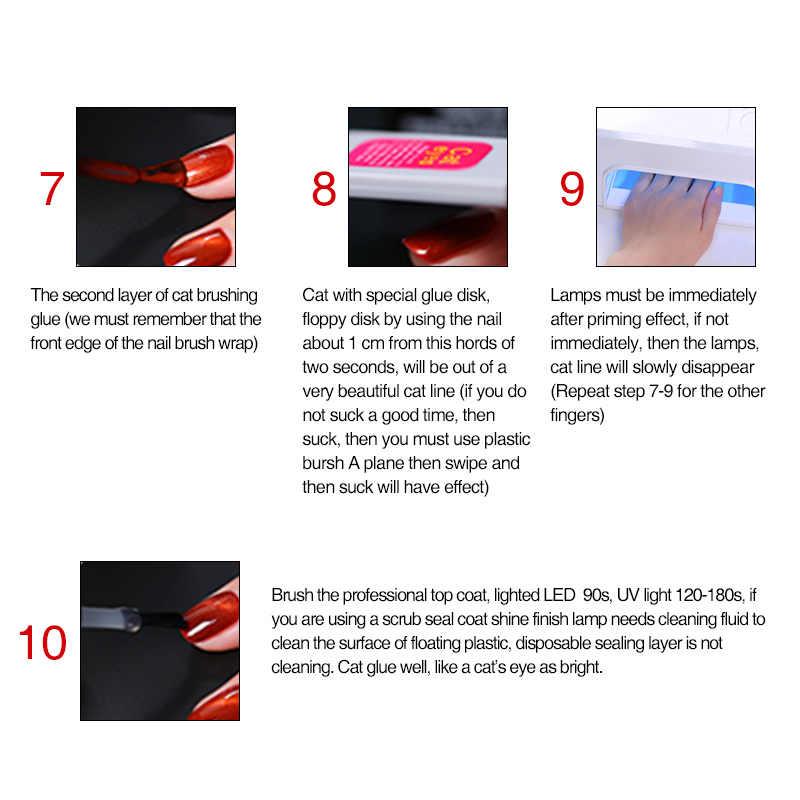 Vrenmol 1 piezas 3D rojo llama ojo de diamante gato de uñas de Gel polaco fuego pintura de uñas esmalte de uñas de arte brillo UV gel de barniz
