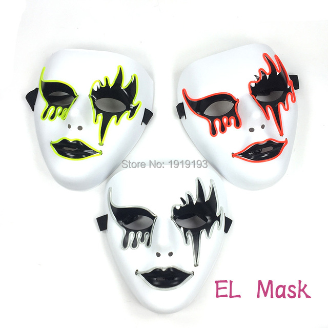 grotesque blinking neon led strip scary bloody face halloween decor el cold light movie theme mask