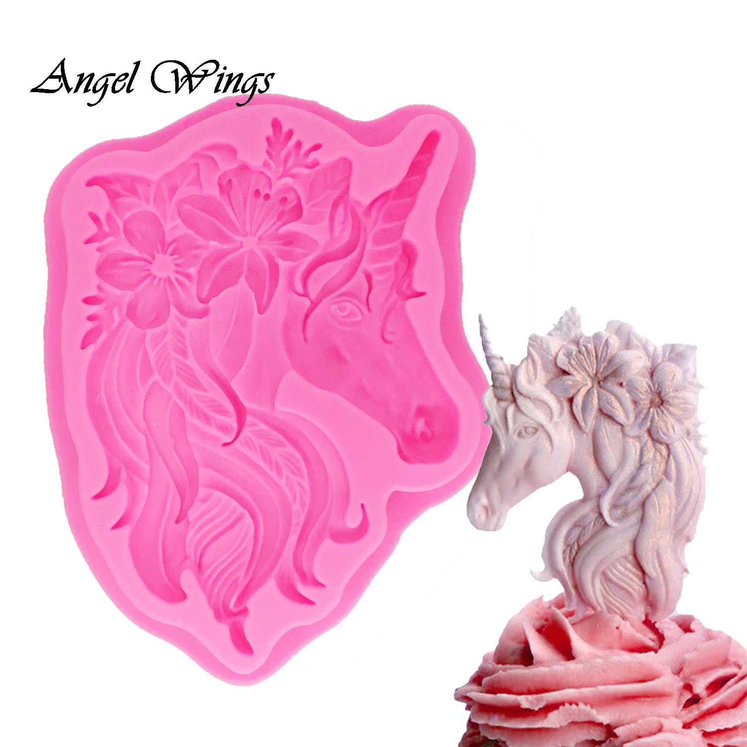 3D Unicorn Silicone Mold Cupcake Topper Decoration Fondant DIY Party Cake Decorating Tool Candy Gumpaste dessert tools F1326