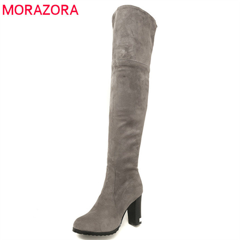 MORAZORA 2018 new arrival thigh high over the knee boots women round toe flock autumn winter boots high heels shoes woman morazora 2018 new arrival over the knee boots women flock autumn winter boots fashion sexy long boots high heels dress shoes