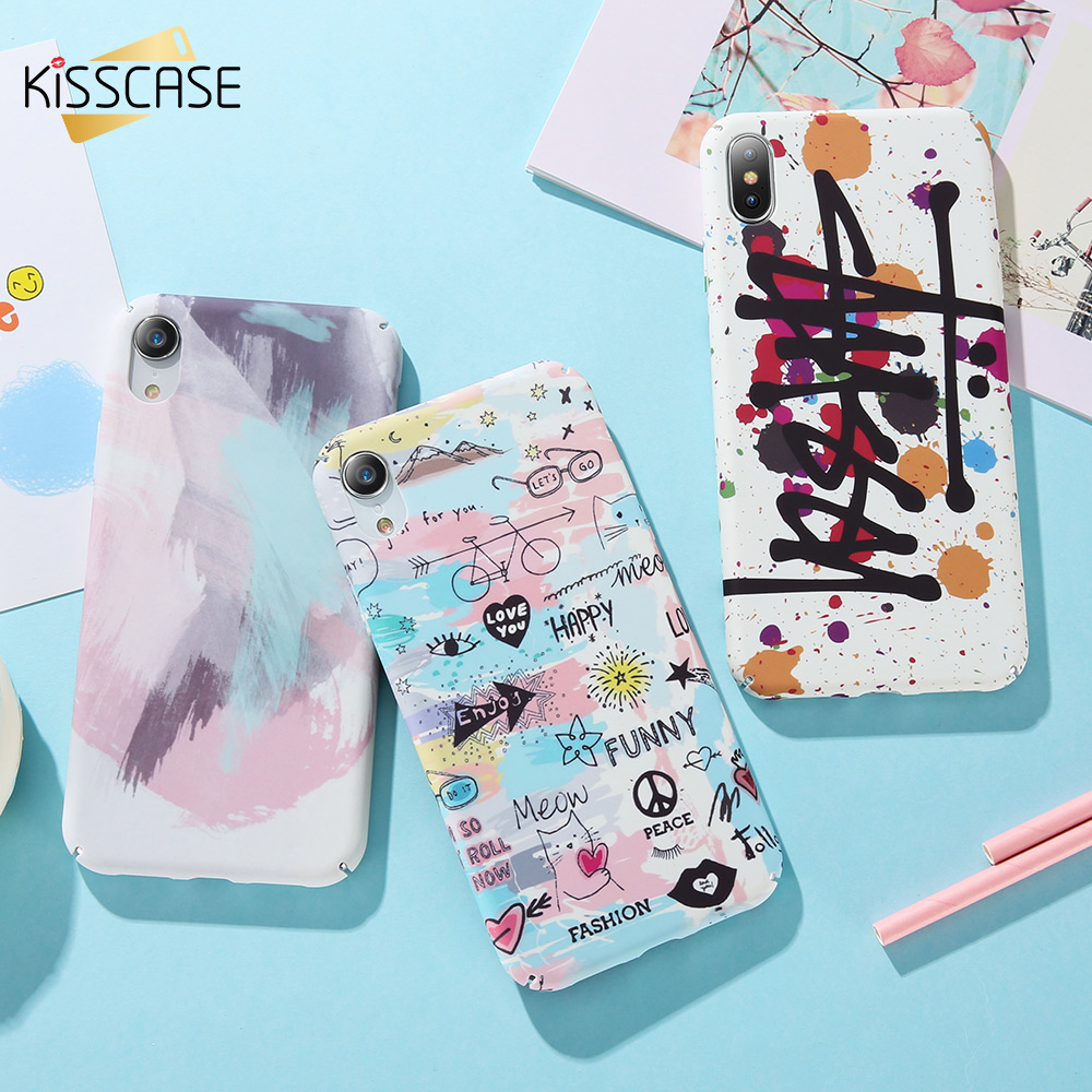 KISSCASE Mode Malerei Telefon Fall Für <font><b>iPhone</b></font> XR 7 8 Plus X XS Max Hartplastik <font><b>Cases</b></font> Fundas Für <font><b>iPhone</b></font> X <font><b>6</b></font> 6S 7 8 Plus Abdeckungen image