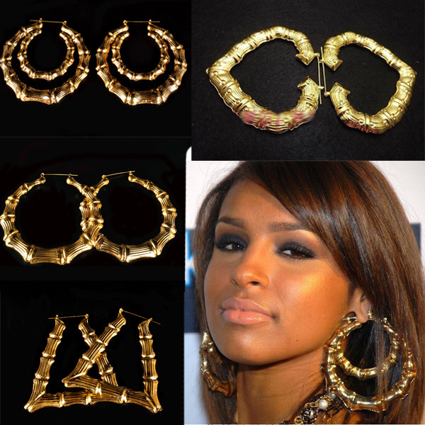 Hot Rihanna Basketball Wives Gold Silver Tone Heart Star Single Double Bamboo Joint Hoop Earrings Jewelry Large In From