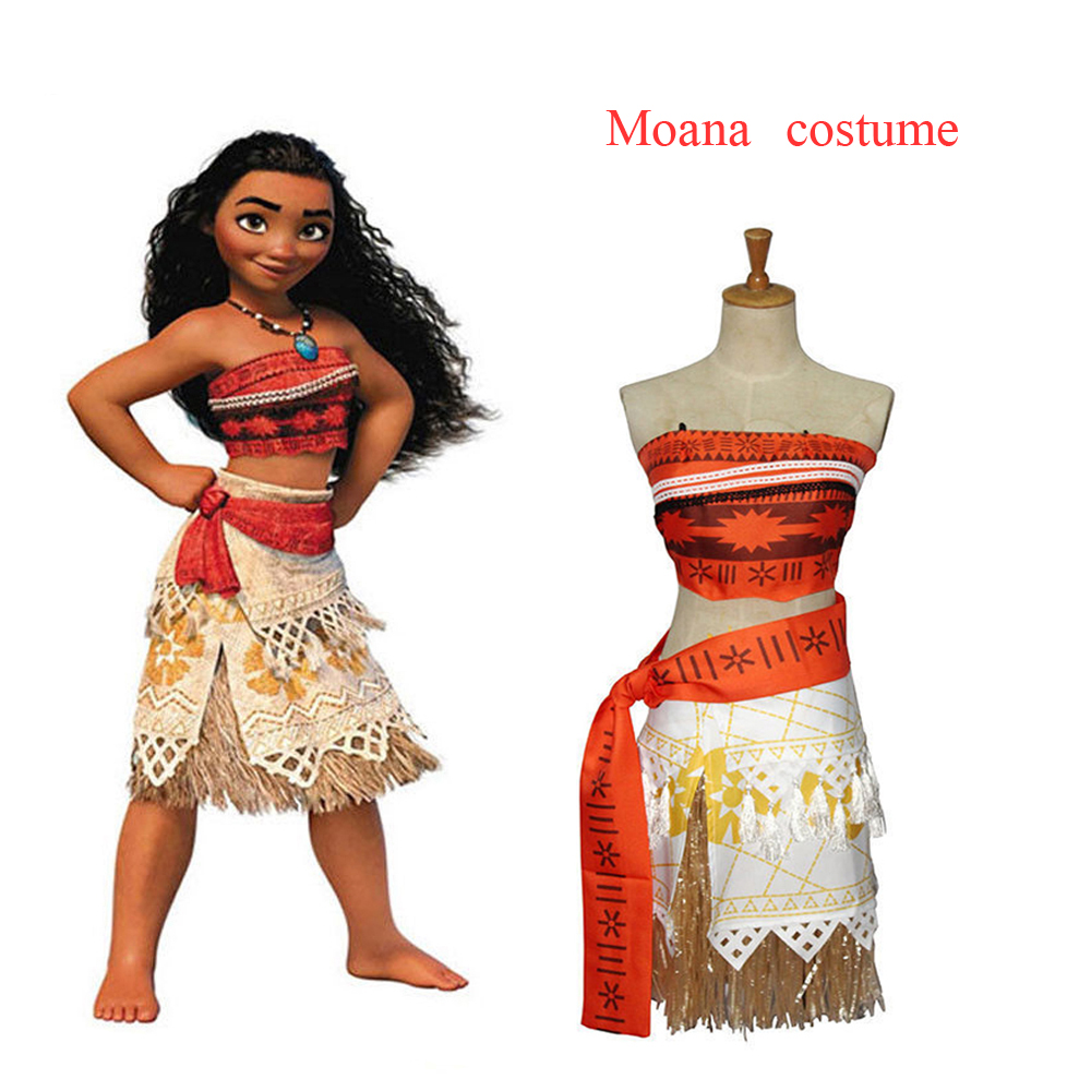Princess Moana Costume With Necklace Children Girls Halloween Party Cosplay Costume  Party Corset Skirt Belt Custom Made