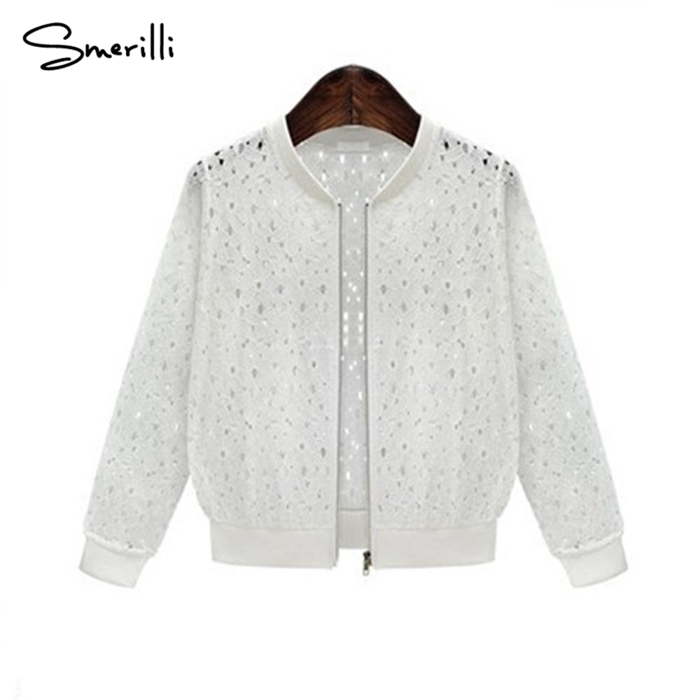 Cross border special womens wear 2018 summer long sleeves lace short sunscreen coat black white hollow out female jacket