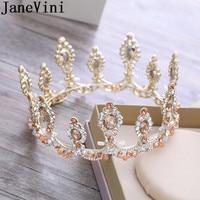 JaneVini Princess Crowns Crystal Beaded Women Sweet 16 Party Decorations Bridal Wedding Crowns Tiaras Hair Ornaments Bride 2018