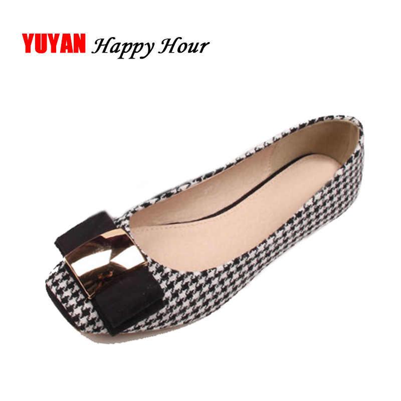 d4af2181cff39 High Quality Classic Plaid Shoes Women Flats Fashion Bowknot Metal Women s  Flats Luxury Brand Ladies Boat