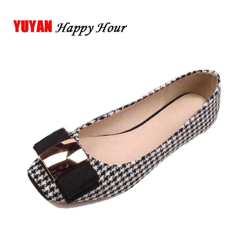 High Quality Classic Plaid Shoes Women Flats Fashion Bowknot Metal Women's Flats Luxury Brand Ladies Boat Shoes Plus Size ZH687 rivets decoration brand shoes flats women spring autumn fashion womens flats boat shoes sexy ladies plus size 11 free shipping