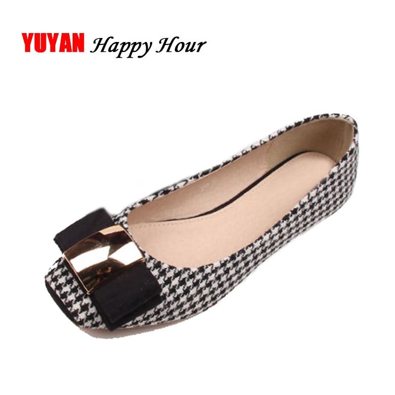 High Quality Classic Plaid Shoes Women Flats Fashion Bowknot Metal Women's Flats Luxury Brand Ladies Boat Shoes Plus Size ZH687 plus size open front high low plaid waistcoat
