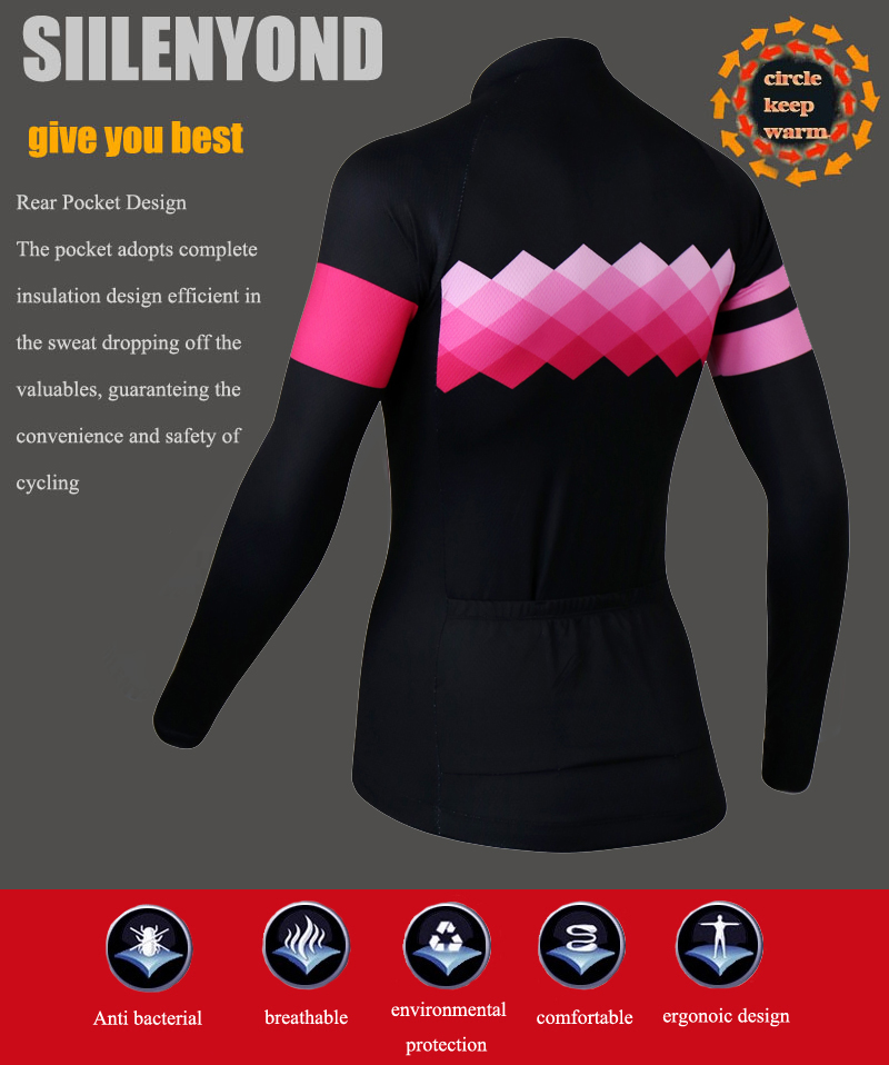 Siilenyond 2019 Pro Women Winter Thermal Cycling Jersey Long Sleeve Mountain Bike Cycling Clothing MTB Bicycle Cycling Clothes 6